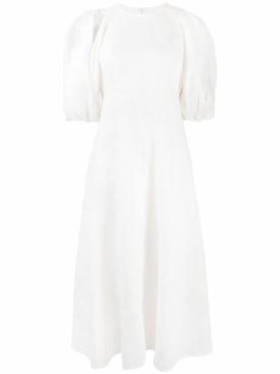 Zimmermann Puff Sleeve Textured Midi Dress