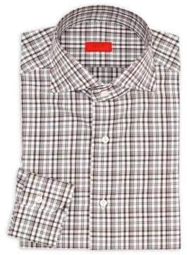 Isaia Regular-Fit Checkered Cotton Dress Shirt