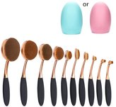 Multi function Oval Makeup Brushes 10pcs Fashionable Super Soft Toothbrsh Makeup Brush Set Face Powder Concealer Foundation Brush (Rose Black) + Makeup Brush Cleaner Egg by Beauty Kate