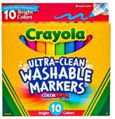 Crayola Ultra-Clean Markers Broad Line Washable 10ct Bright