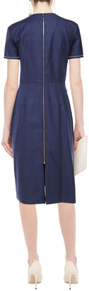 Roland Mouret Dalva Gathered Prince Of Wales Checked Wool And Silk-blend Midi Dress