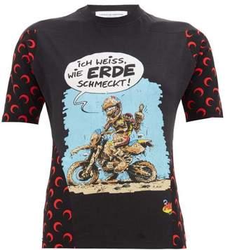 Marine Serre Upcycled Motomania-print Jersey T-shirt - Womens - Black Multi