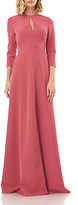 Kay Unger New York Hannah Jewel-Neck 3/4-Sleeve Stretch Crepe Gown