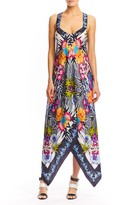 Nicole Miller Bamboo Scarf High Low Dress