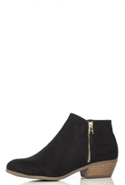 Quiz Black Faux Suede Zip Detail Boots