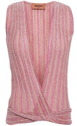 Missoni Twist-front Striped Metallic Crochet-knit Top