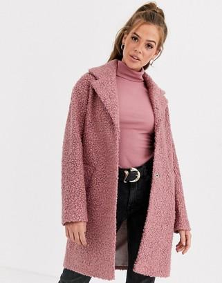 Asos DESIGN textured cocoon coat in pink