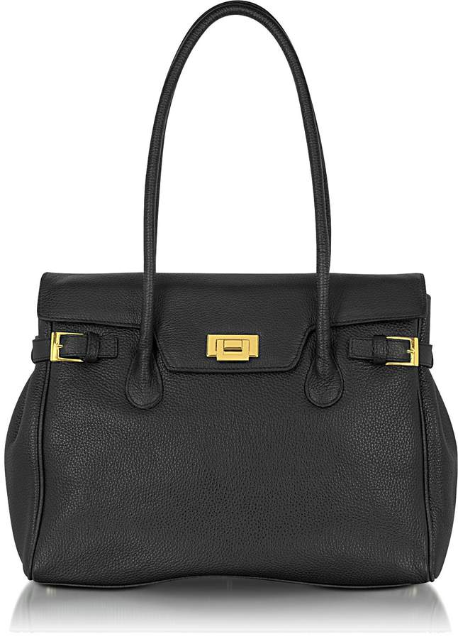 Fontanelli Black Embossed Leather Large Satchel Bag
