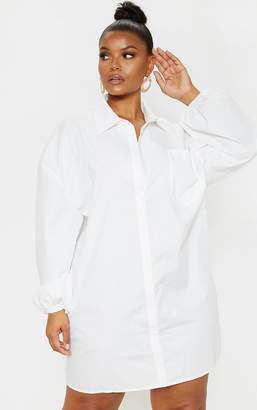 PrettyLittleThing Plus White Oversized Puff Sleeve Shirt Dress