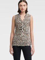DKNY Pleated Leopard Top With Tie Neck