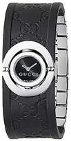 Gucci Women's 112 Twirl Collection Rubber Bangle Watch Black YA112518
