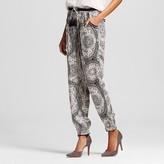Knox Rose Women's Printed Elastic Waist Cuffed Hem Pants