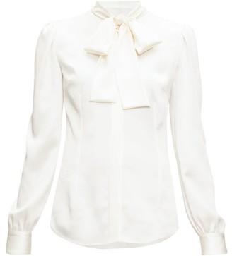 Dolce & Gabbana Pussy-bow Silk-blend Satin Blouse - Cream