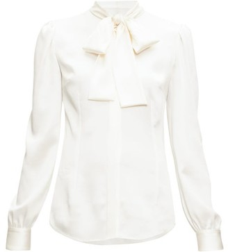 Dolce & Gabbana Pussy-bow Silk-blend Satin Blouse - Womens - Cream