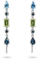 Large 5 Stone Teardrop Dangle Earrings with Diamonds and Chain, Blue/Green