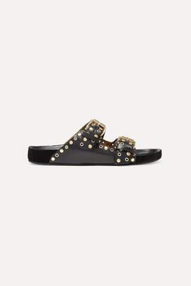 Isabel Marant Lennyo Studded Leather Slides - Black