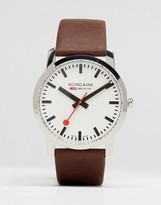 Mondaine Leather Watch In Brown 41mm