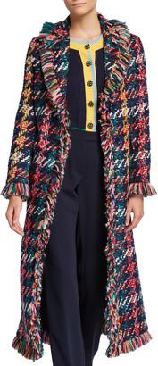 Maison Common Long Multicolor Tweed Coat with Fringe