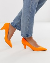 Asos Design DESIGN Summary mid-heeled pumps in neon orange