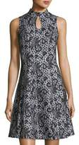 Donna Ricco Sleeveless Keyhole Lace-Print Dress