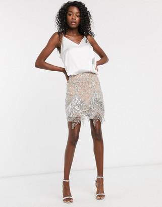 Asos DESIGN embellished fringed mini skirt