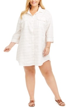 Dotti Plus Size Radiance Stripe Shirt Cover-Up Dress Women's Swimsuit