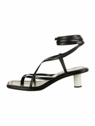 Proenza Schouler Leather Wrap-Around Sandals Black