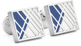 Ike Behar Square Graphic-Relief Enamel Cuff Links, Blue