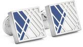 Robert Graham Square Graphic-Relief Enamel Cuff Links, Blue