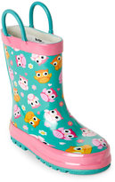 Western Chief Toddler Girls) Teal Happy Owls Rain Boots