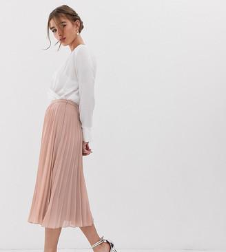 Asos DESIGN Petite pleated midi skirt-Pink