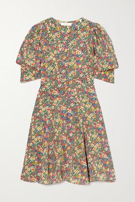DÔEN Ceres Floral-print Silk Crepe De Chine Mini Dress - Green