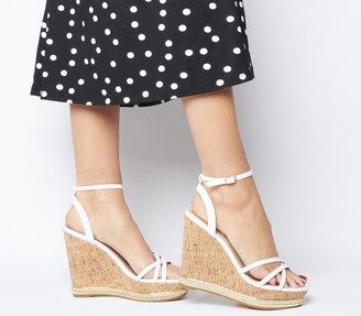 Office Honcho Strappy Glam Cork Wedges White