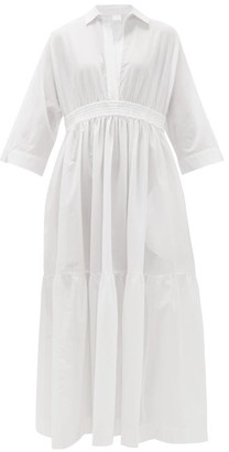 Max Mara Beachwear - Shirred Cotton Shirt Dress - Womens - White