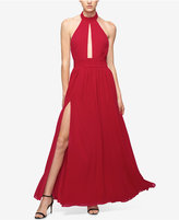 Fame and Partners Keyhole Halter Dress with Front Slit