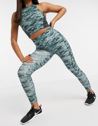 South Beach fitness all over print panelled legging in tonal blue camo