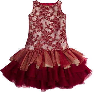 Biscotti Girls' Special Occasion Dresses RED - Red Lace Drop-Waist Dress - Toddler