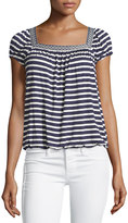 Max Studio Short-Sleeve Striped Tops, Navy/Ivory