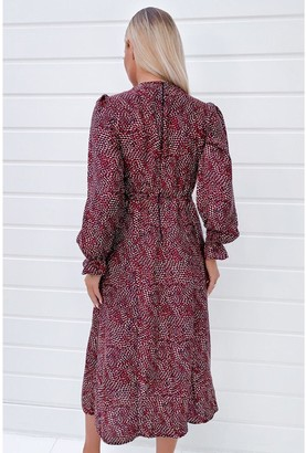 AX Paris Long Sleeve Midi Dress - Red