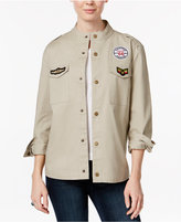 7 Sisters Juniors' Cotton Patched Military Jacket