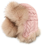 Inverni Cable-Knit Cashmere & Fox Fur Trapper Hat, Pink/Beige