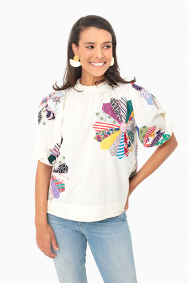Sea New York Multi Patchwork Paloma Puff Sleeve Top