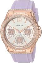 GUESS GUESS? Women's Quartz Stainless Steel and Silicone Casual Watch, Color:Purple (Model: U0846L6)