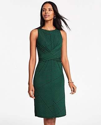 Ann Taylor Patchwork Stripe Wrap Front Dress