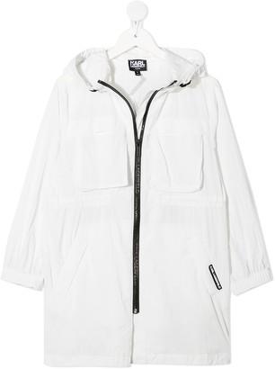 Karl Lagerfeld Paris Long-Line Windbreaker Jacket
