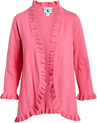 Haley And The Hound Haley and the Hound Women's Blouses - Pink Ruffle-Trim Open Cardigan - Women