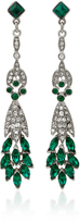 Ben-Amun Ben Amun Silver-Tone Crystal and Emerald Earrings