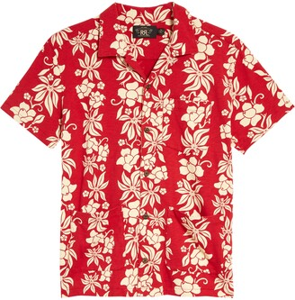 Ralph Lauren RRL Floral Print Cotton Button-Up Camp Shirt