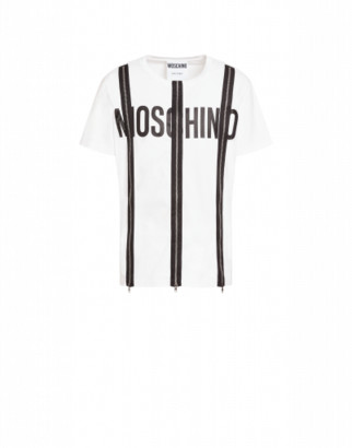 Moschino Jersey T-shirt With Zip And Logo Man White Size 44 It - (34 Us)