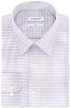 Calvin Klein Men's Steel Classic/Regular-Fit Non-Iron Performance Stretch Check Dress Shirt